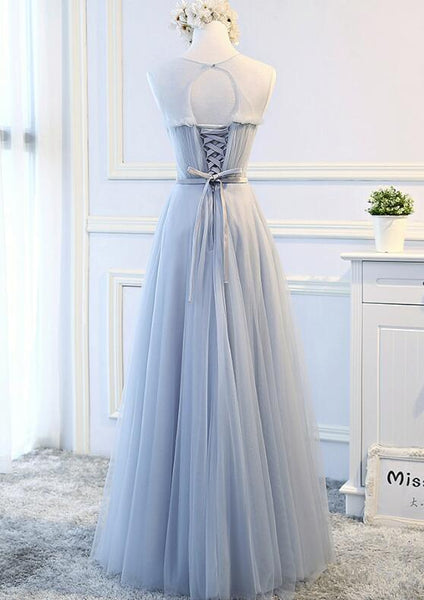 Pretty Tulle Lace-up Long Formal Dress, Lace Party Dress, Formal Gowns