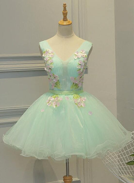 Lovely Light Green Tulle Floral Teen Party Dresses, 16 Party Dresses, Girls Formal Dresses