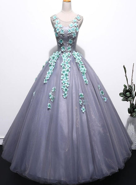 Grey Tulle Round Floor Length Gorgeous Sweet 16 Dresses, Princess Party Dress, Formal Gowns