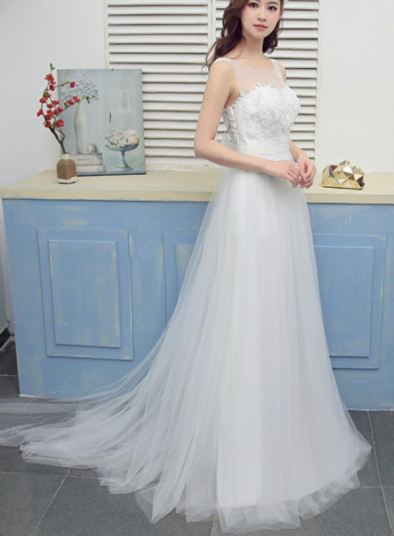 White Tulle Elegant Simple Round Neckline with Bow Wedding Gowns ...