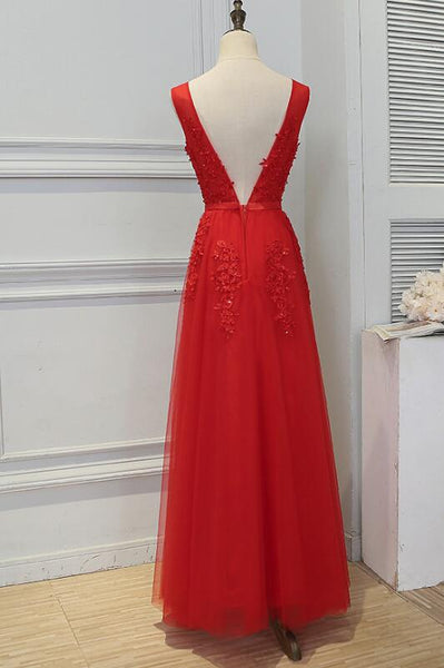 Beautiful Red Tulle V-neckline Long Party Dress 2018, Red Tulle Party Dress, Handmade Formal Gowns