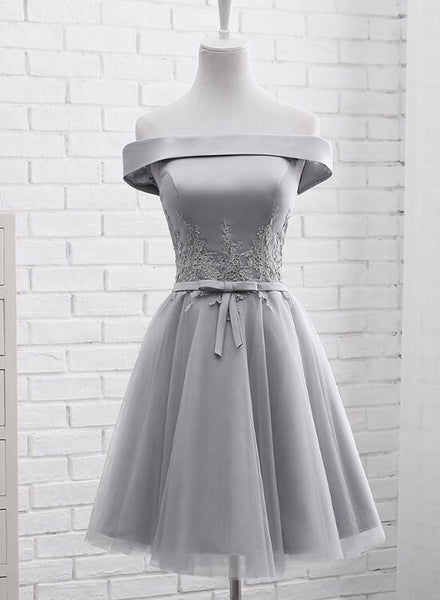 Simple Off Shoulder Grey Tulle Applique Bridesmaid Dresses, Knee Length Formal Dress, Party Dresses