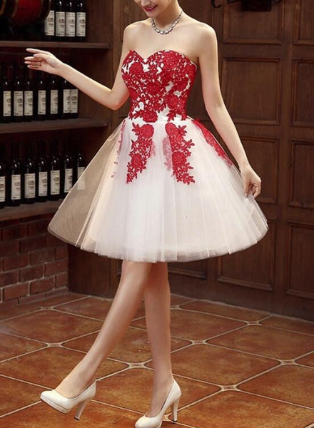 Red Lace Applique Beautiful Graduation Party Dress, Lovely Short Formal Dress, Cute Party Dress 2018