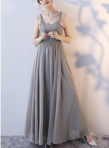 Grey Chiffon Long Bridesmaid Dresses, Floor Length Party Dress, Grey Wedding Party Dresses