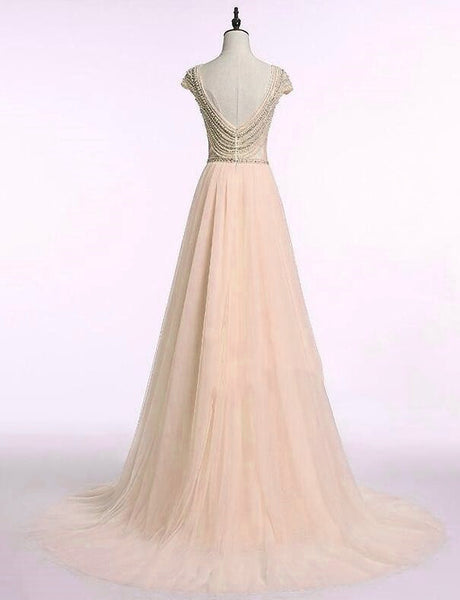 Champagne Tulle Long Prom Dress, Party Dresses, Beaded Formal Gowns