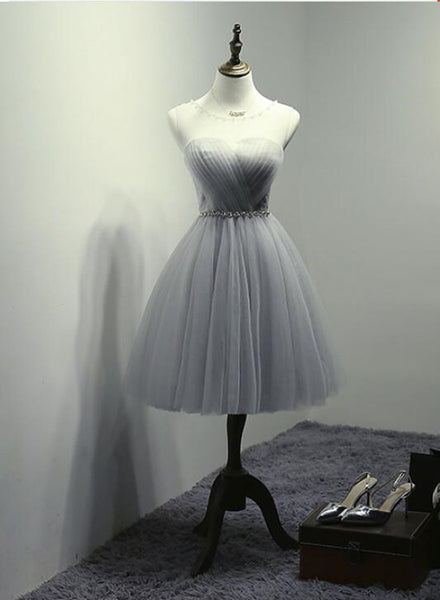 Grey Tulle Short Round Neckline Beaded Homecoming Dresses, Stylish Short Prom Dress, Party Dresses