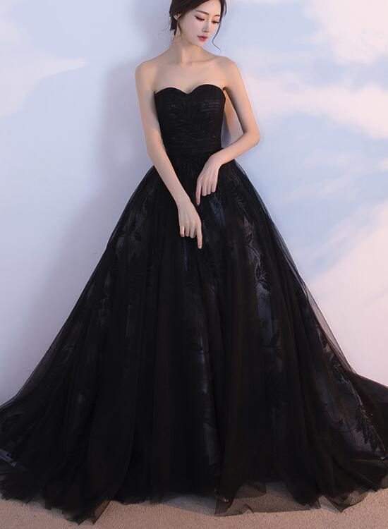 Black Tulle and Lace Ball Gown, Prom Dresses, Black Formal Gowns ...