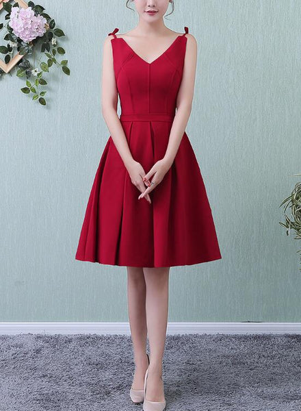 Dark Red Satin Homecoming Dresses, Red Short Cute Party Dresses, Formal Dresses