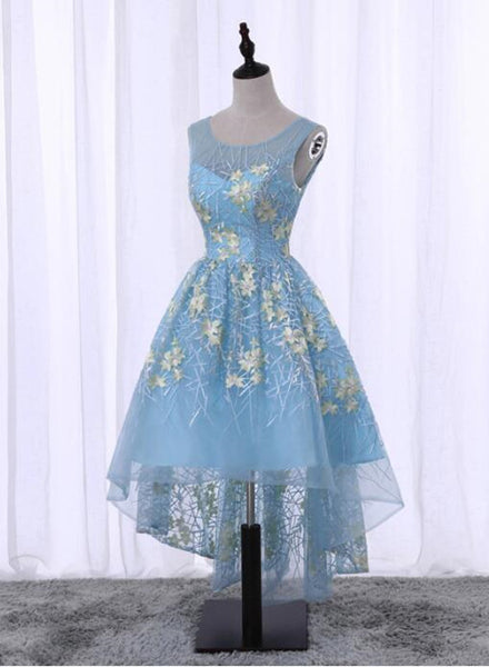 Light Blue High Low Floral Party Dresses, Lovely Formal Dresses, Cute Party Dress