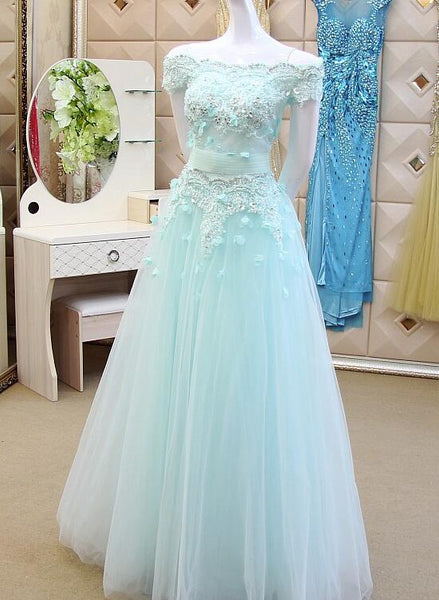 Ice Blue Off Shoulder Tulle Applique Elegant Evening Dresses, Long Formal Gowns, Blue Party Dresses