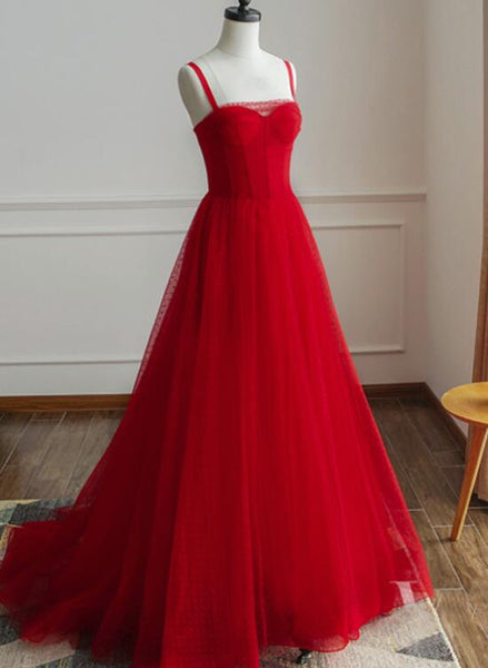 Beautiful Red Straps Tulle Elegant Formal Gowns, Red Party Dresses, Red Formal Gowns 2019