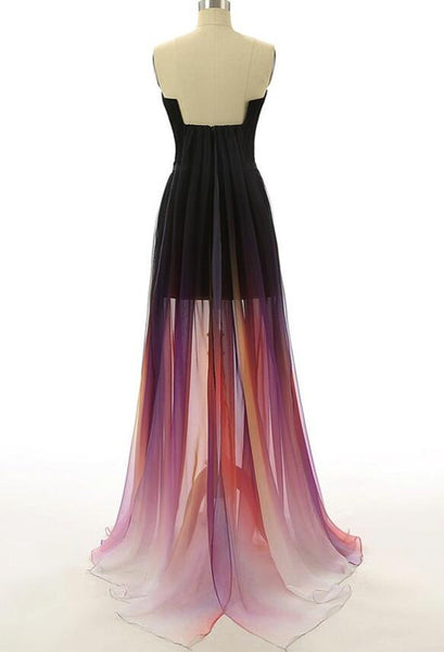Gradient High Low Formal Dresses, Long Party Dresses, Chiffon Homecoming Dresses
