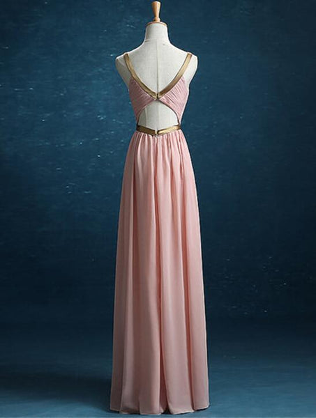 Simple Pretty New Style Pink Bridesmaid Dresses, Pleated Party Dresses Golden Belt Formal Gowns
