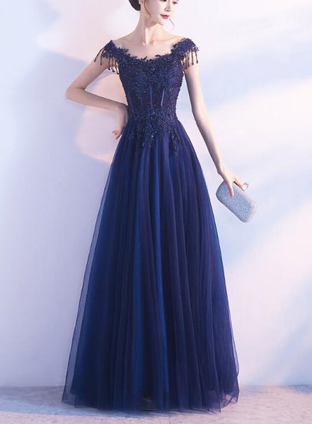 Navy Blue Long Prom Dress 2019, Formal Gowns, Lovely Party Dresses 2019
