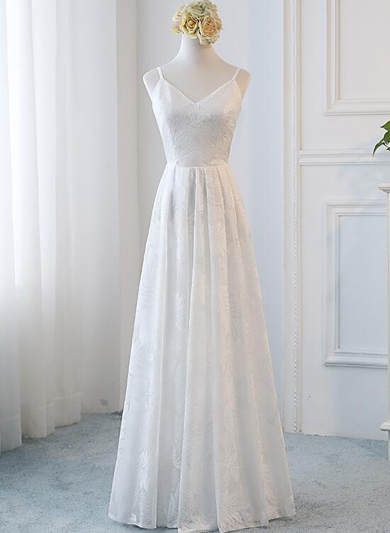 Beautiful Simple Lace White Graduation Party Dresses, Long Formal ...