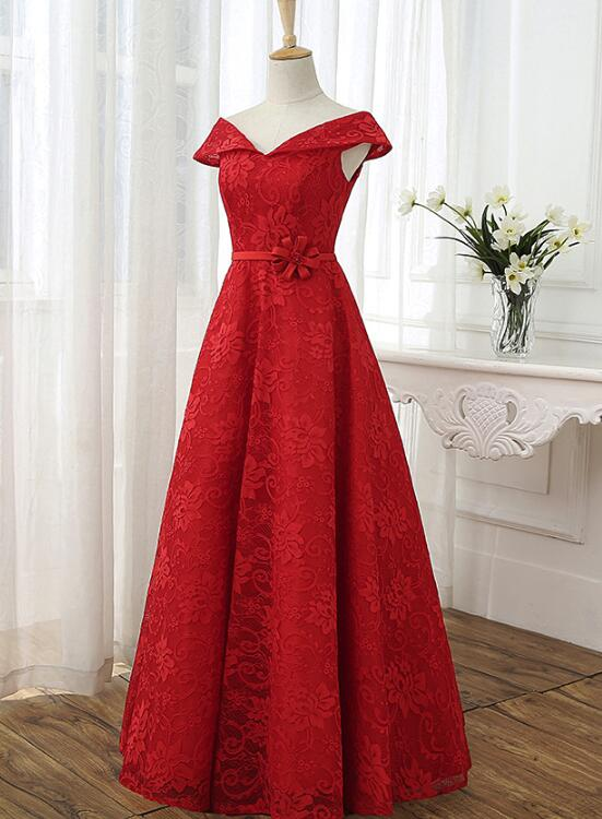 Red Cap Sleeves Lace Wedding Party Dress, Floor Length Formal Gowns ...