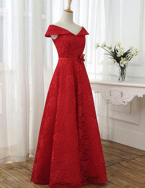 Red Cap Sleeves Lace Wedding Party Dress, Floor Length Formal Gowns, Prom Dresses 2019