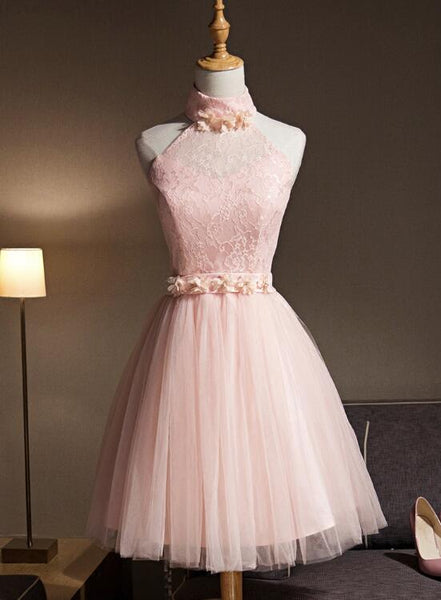 Light Pink Halter Tulle and Lace Lovely Knee Length Formal Dress, Cute Party Dress, Pink Prom Dresses