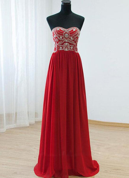Beautiful Red Beaded Sweetheart Floor Length Prom Dress 2019, Chiffon Long Party Dress