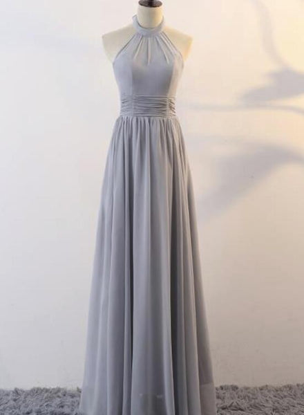 Grey Chiffon Halter Elegant Bridesmaid Dress, Bridesmaid Dress, Long Formal Gowns