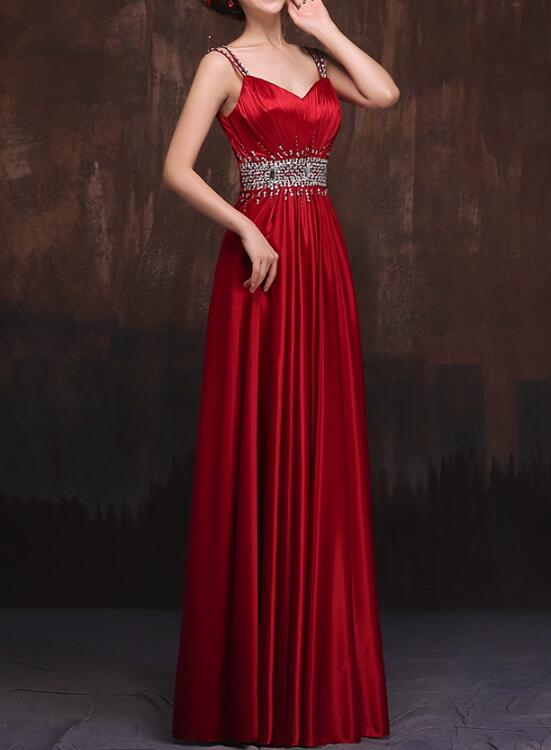 Red Straps Sequins Pretty Long Satin Formal Gowns Red Party Gowns