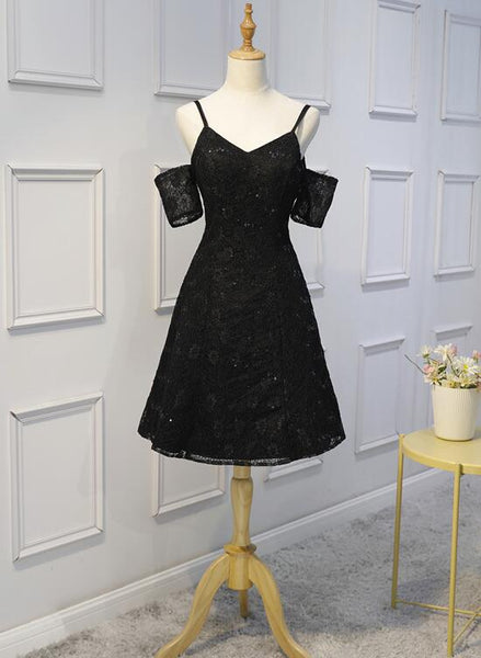 Black Lace with Sequins Homecoming Dresses, Lovely Handmade Short Prom Dress