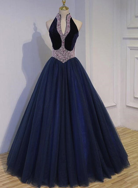 Navy Blue Tulle Beaded Gorgeous Ball Gown Evening Gowns, Sweet 16 Dresses, Formal Gown