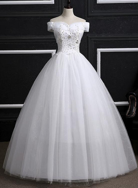Off Shoulder Wedding Gowns, Pretty White Sweet 16 Dresses, Formal Gowns