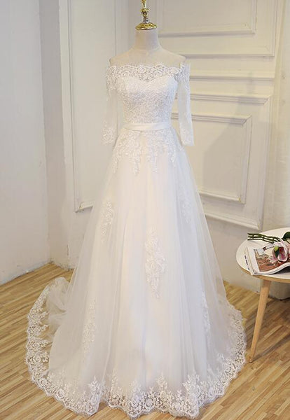 Beautiful Lace Sweep Train Wedding Dress, Simple Wedding Gowns, White Prom Dress