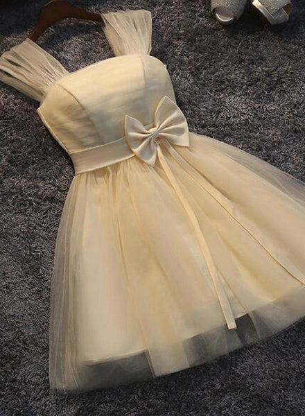 Lovely Champagne Tulle Cute Teen Party Dress with Bow, Straps Tulle Formal Dresses