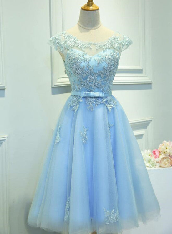Light Blue Cap Sleeves Tea Length Vintage Style Formal Dress Blue