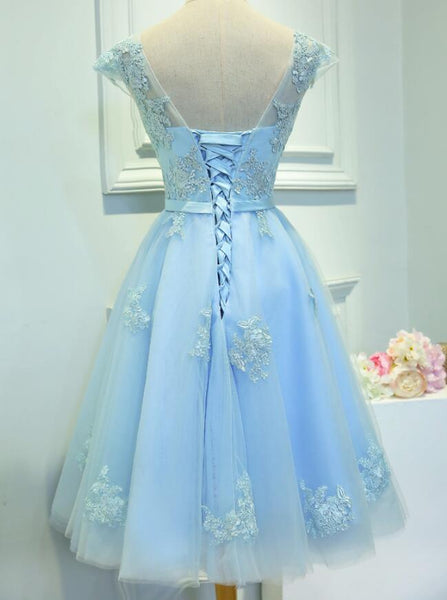Light Blue Cap Sleeves Tea Length Vintage Style Formal Dress, Blue Homecoming Dresses