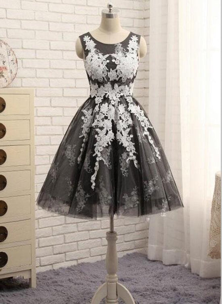 Black Tulle with White Lace Round Neckline Knee Length Homecoming Dresses, Cute Party Dresses