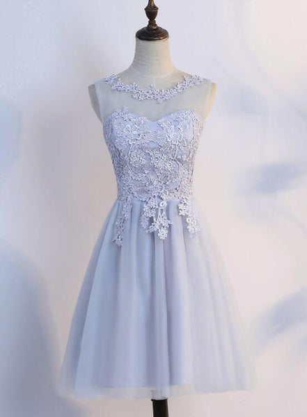 Simple Tulle and Lace Short Prom Dresses, Homecoming Dresses, Cute Party Dresses