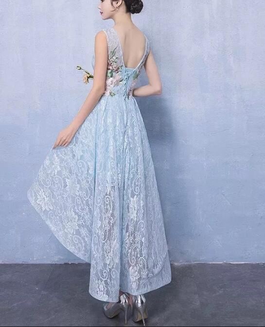 ... Light Blue Lace High Low Wedding Party Dresses a4bc6f91e