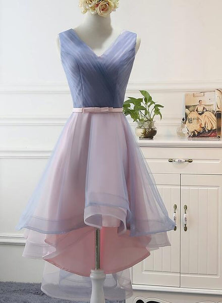Blue and Pink Stylish High Low Party Dress, Cute Formal Gowns, Pretty Party Dresses