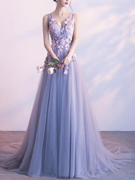 Light Grey Cute Long Flowers Prom Dresses 2019, Lovely Party Dress, Formal Gowns