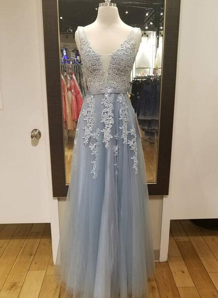 Grey Tulle Prom Gown 2019, V-neckline Tulle Formal Dress, Junior Party Dresses