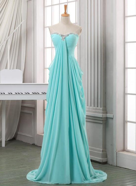 Mint Blue Chiffon Long Sweetheart Beaded A-line Prom Dress 2019, Cute Junior Bridesmaid Dresses