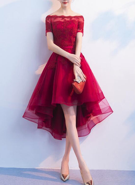Lovely Wine Red High Low Formal Dress, Cute Party Dresses, High Low Homecoming Dresses