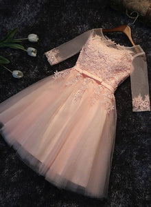 a69b0df27f Light Pink Short Sleeves Lace Party Dress