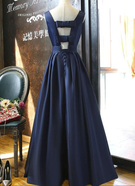 Navy Blue Elegant Long Party Gown, Gorgeous Beaded Formal Dress, Prom Dress 2019