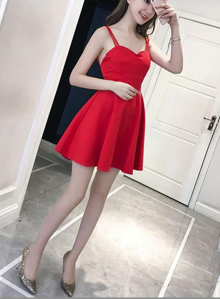 Lovely Mini Women Straps Sexy Party Dress in Stock, Red Women Dress, Mini Dress