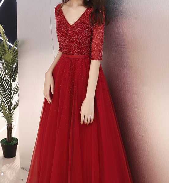 Wine Red Short Sleeves Beaded Party Dress 2019, Gorgeous Formal Dresses 2019