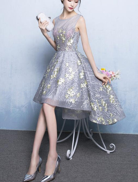 Grey Round Neckline High Low Party Dress, Grey Teen Formal Dress