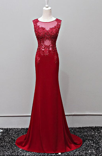 Dark Red Mermaid Long Prom Dresses, Spandex and Lace Applique Junior Prom Gowns