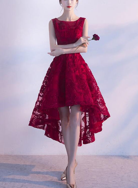 Wine Red Lace High Low Charming Formal Dress, Junior Party Dress, Cute Prom Dress