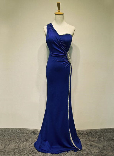 Royal Blue One Shoulder Floor Length Beaded Prom Gown, Prom Dress 2019, Evening Party Dress