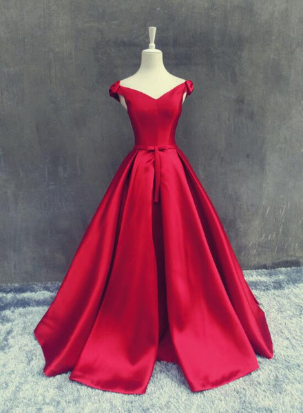 Lovely Off Shoulder with Bow Long Satin Prom Dress, Red Prom Dress 2019