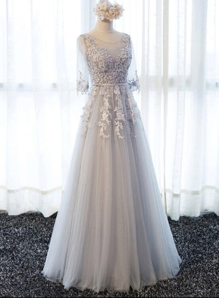 Grey Lovely Wedding Party Dress, Beautiful Tulle A-line Short Sleeves Wedding Party Dress